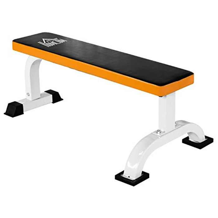 HOMCOM Barbell Flat Bench Press Dumbbell Weight Lifting Fitness Abs Workout Gym Bench - Black & Orange