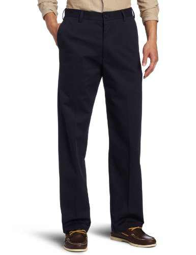 IZOD Men's American Chino Flat Front Straight Fit Pant, Navy, 34W x 34L