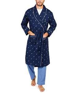 Nautica Men's Long Sleeve Lightweight Cotton Woven Robe,Peacoat,Small/Medium