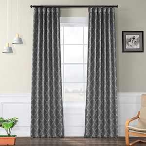 HPD Half Price Drapes BOCH-KC21-96 Blackout Room Darkening Curtain (1 Panel), 50 X 96, Seville Grey & Silver