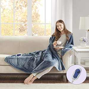 Beautyrest Microlight to Sherpa Reversible Electric Blanket Throw, Adjustable Multi-Level Heat Setting Controller Cozy Living Room Couch, Sofa, Bed, 60x70, Blue