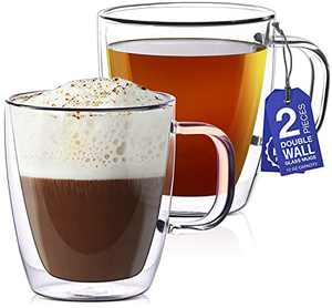 12 oz Glass Coffee Mugs - Set of 2 - Double Wall Clear Glasses - Insulated Glassware With Handle - Large Espresso Latte Cappuccino or Tea Cup by Eparé
