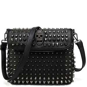 Scarleton Large Studded Skull Shoulder Bag for Women, Purses for Women, Crossbody Bags for Women, Punk Rock Rivet Bag H1417