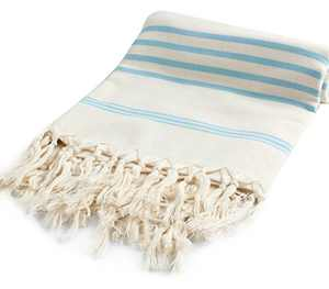 Cacala Hand Loomed Pestemal Striped Turkish Bath Towel 37x70 Turquoise