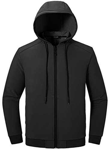 Wantdo Men's Drawstring Hooded Lightweight Casual Jacket Windproof Windbreaker US M Black