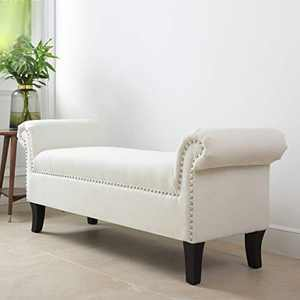 """Jennifer Taylor Home Kathy Roll Arm Entryway Accent Bench, 53"""" x 17"""" x 21.5"""", Bright White"""