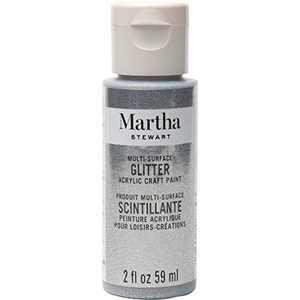 Martha Stewart Crafts Multi-Surface Glitter Acrylic Craft Paint, 2 oz, STERLING