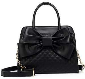 Scarleton Quilted Bow Satchel Handbag for Women, Shoulder Bag, Purses for women, Vegan Leather Crossbody Bag, Tote Purse, H104801N - Black