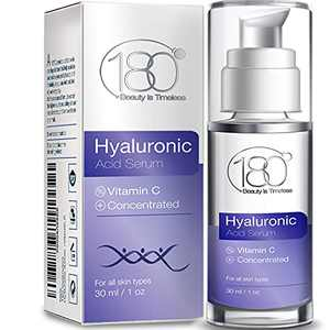 Hyaluronic Acid Serum for Face w. Vitamin C - Ages 30 to 40 - Anti Aging Serum Face Moisturizer & Restorer - Concentrated Face Serum for Smooth Supple Hydrated Skin - 180 Cosmetics - 1 oz