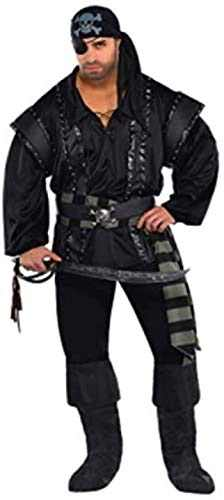 AMSCAN Dark Sea Scoundrel Pirate Halloween Costume for Men, Plus Size, with Included Accessories