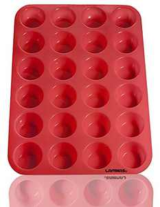 Laminas Silicone Mini Muffin Cupcake Baking Pan 24 Cup Bite Size, BPA Free, Non Stick, Easy To Clean, Oven, Microwave, Dishwasher, Freezer safe, Heat Resistant Up To 450F, Red - Plus Free Recipe