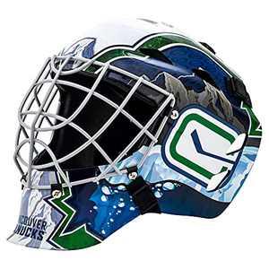 Franklin Sports Vancouver Canucks NHL Hockey Goalie Face Mask - Goalie Mask for Kids Street Hockey - Youth NHL Team Street Hockey Masks