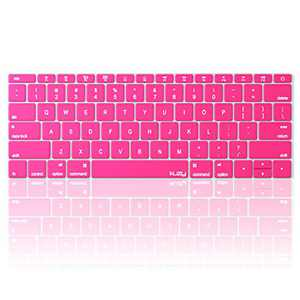 Kuzy Compatible with MacBook Pro 13 inch Keyboard Cover A1708 No TouchBar and MacBook 12 inch Keyboard Cover A1534 Silicone Skin, Pink