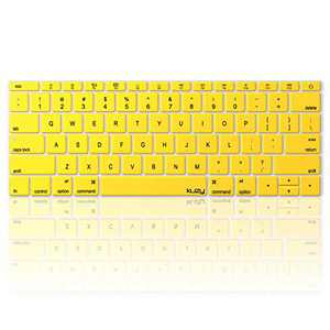 Kuzy Compatible with MacBook Pro 13 inch Keyboard Cover A1708 No TouchBar and MacBook 12 inch Keyboard Cover A1534 Silicone Skin, Yellow