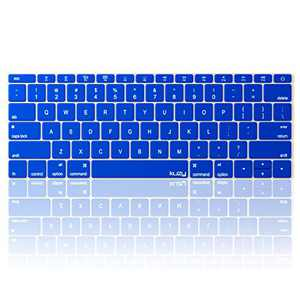 Kuzy Compatible with MacBook Pro 13 inch Keyboard Cover A1708 No TouchBar and MacBook 12 inch Keyboard Cover A1534 Silicone Skin, Blue