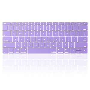 Kuzy Compatible with MacBook Pro 13 inch Keyboard Cover A1708 No TouchBar and MacBook 12 inch Keyboard Cover A1534 Silicone Skin, Light Purple