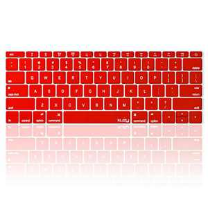 Kuzy Compatible with MacBook Pro 13 inch Keyboard Cover A1708 No TouchBar and MacBook 12 inch Keyboard Cover A1534 Silicone Skin, Red
