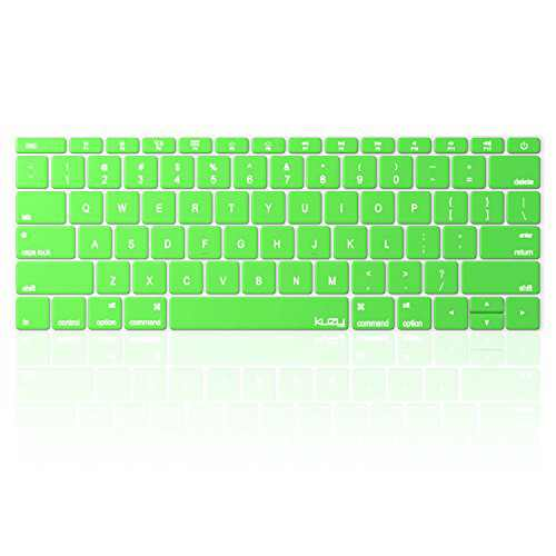 Kuzy Compatible with MacBook Pro 13 inch Keyboard Cover A1708 No TouchBar and MacBook 12 inch Keyboard Cover A1534 Silicone Skin, Green