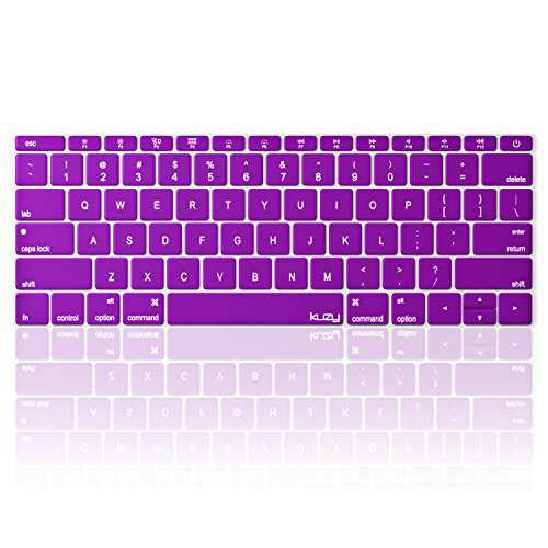 Kuzy Compatible with MacBook Pro 13 inch Keyboard Cover A1708 No TouchBar and MacBook 12 inch Keyboard Cover A1534 Silicone Skin, Purple