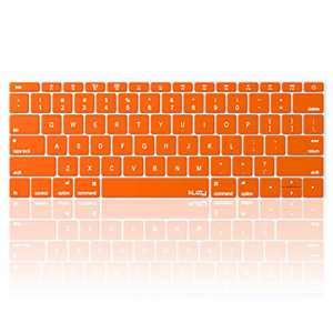 Kuzy Compatible with MacBook Pro 13 inch Keyboard Cover A1708 No TouchBar and MacBook 12 inch Keyboard Cover A1534 Silicone Skin, Orange