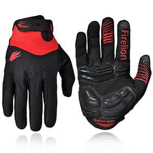 Firelion Long Finger Outdoor MTB Downhill Off Road Bicycle Gloves (Black, Medium)