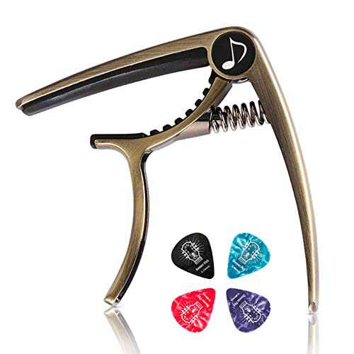 Donner DC-2 One Handed Trigger Guitar Capo for Electric and Acoustic Guitars Ukulele Capo Cinnamon