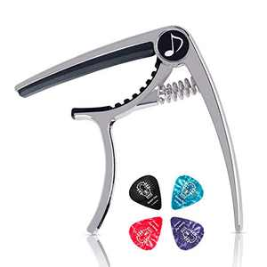 Donner DC-2 Guitar Capo for Acoustic and Electric Guitar,Ukulele Capo Silver