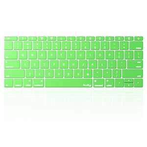Kuzy Compatible with MacBook Pro 13 inch Keyboard Cover A1708 No TouchBar and MacBook 12 inch Keyboard Cover A1534 Silicone Skin, Neon Green