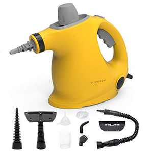 Comforday Multi-Purpose Handheld Pressurized Steam Cleaner with 9-Piece Accessories for Stain Removal, Steamer, Carpets, Curtains, Car Seats, Kitchen Surface & Much More (Yellow Black)
