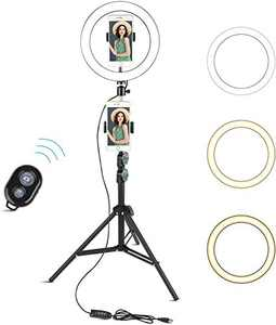 "Selfie Ring Light with Tripod Stand, Arespark 10"" Light Ring with 60"" Tripod Stand & Phone Holder for Vlogging/Make Up/Live Stream/YouTube, Compatible with iPhone/Android, Gift for Girlfriend"