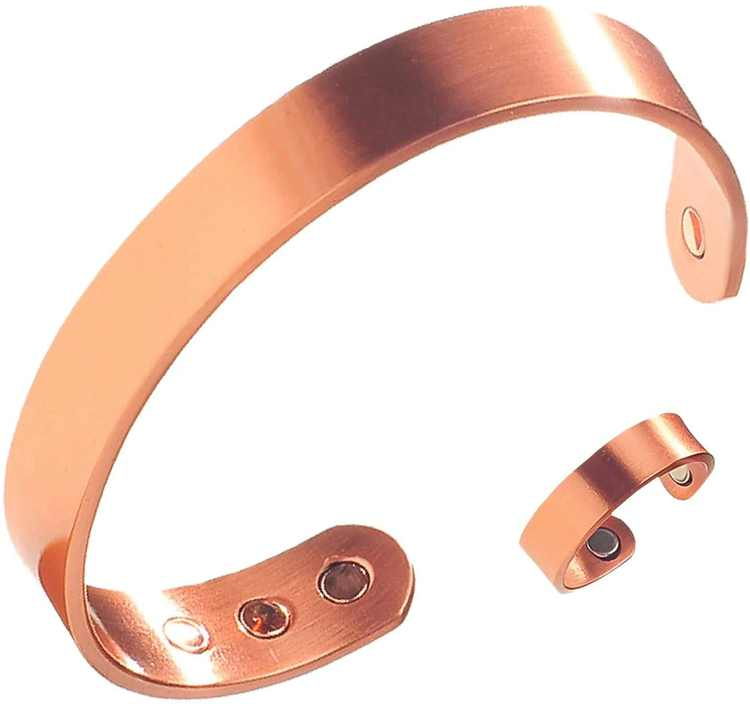 The Original Pure Copper Magnetic Ring and Bracelet Set for Joint Pain Relief - Slim Minimalist Style - Adjustable - For Men and Women