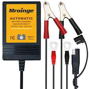 Mroinge MBC010 Automotive Trickle Maintainer 12V 1A Smart Automatic Battery Charger for Car Motorcycle Boat Lawn Mower SLA ATV Wet Agm Gel Cell Lead Acid Batteries