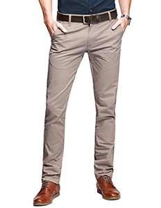 Match Mens Slim-Tapered Flat-Front Casual Pants(40W x 31L,Pale Pinkish)