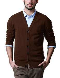 Match Men's Shawl Collar Cardigan Sweater (US S (Tag Size L), Z1522 Brown)