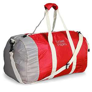 Travel Inspira Foldable Travel Duffle Bag Collapsible Packable Lightweight Sport Gym Bag Emergency Use Water Resistant Nylon 40L Red