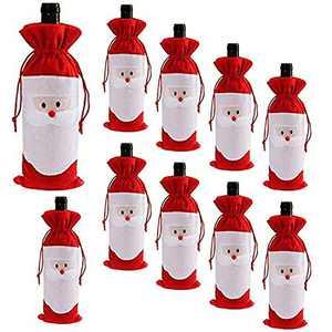 D-Fokes 10PC Christmas Santa Claus Wine Bottle Cover Bags Home Party Decoration