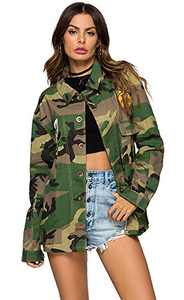 Escalier Women's Military Camouflage Camo Jacket Denim Coats(M),6