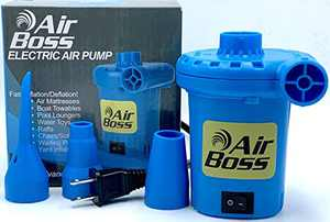 Electric Air Pump for Inflatables- Air Boss 120V, High Power, 1,000 Liters Per Minute Air Flow, 35 CFM, Quick Fill Inflation Deflation -Inflatable Boat, Air Mattress, Airbed, Raft, Float, Pool Toys