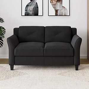 "Lifestyle Solutions Harrington Loveseat, 56.30"" W x 31.50"" D x 33.90"" H, Black"