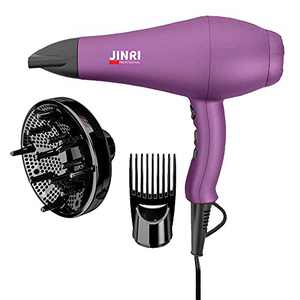 JINRI 1875W Professional Salon Hair Dryer Ionic Infrared Blow Hair Dryer With Diffuser & Concentrator Attachments for Curly Hair, Black (M)