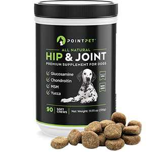 POINTPET Glucosamine for Dogs Hip and Joint Supplement Soft Chews 90 pcs - Dog Joint Health Treats - Dog Pain Relief - Joint Care Chews with Chondroitin MSM Omega 3 6 Vitamin C and E - Mobility Bites