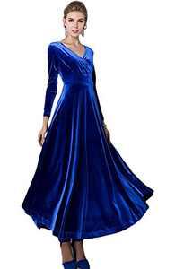 Urban CoCo Women Long Sleeve V-Neck Velvet Stretchy Long Dress (Small, Royal Blue)