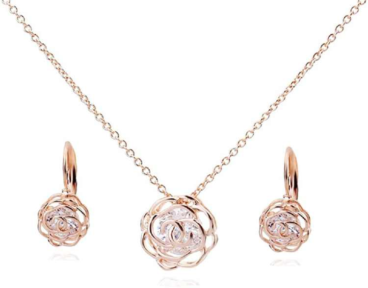 """Crystalline Azuria Women 18 ct Rose Gold Plated Crystals from Swarovski Flowers Roses Set Pendant Necklace 18"""" Lever back Earrings Crystalline Azuria Rose Gold Jewelry Crystal Rose Flower Necklace and Earrings Set for Women - Wedding Party, Bridal and Bridesmaid Accessories - 18 Karat Rose Gold Plated Pendant and Earring Sets"""