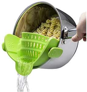 Kitchen Gizmo Snap N Strain Adjustable Silicone Clip On Strainer for Pots, Pans and Bowls - Lime Green