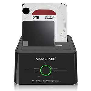 Wavlink USB 3.0 to SATA I/ II/ III Dual Bay External Hard Drive Docking Station for 2.5/3.5 inch SSD/HDD