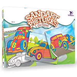 Toykraft: Sand Art Kits - On Road Vehicles | Kids Art and Craft Kits | Toddler Craft for 3-6 Years | Peel and Stick Activity