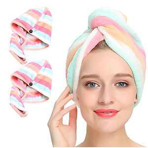 Microfiber Hair Towel Wrap 2 Pack, AuroTrends Quick Dry Hair Drying Towel Super Absorbent Hair Wrap Set of 2 - 2021 Updated Version (Rainbow)