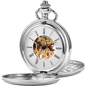 Pocket Watch - Smooth Double Case SIBOSUN Skeleton Dial Mechanical Movement Silver Chain Gift Box