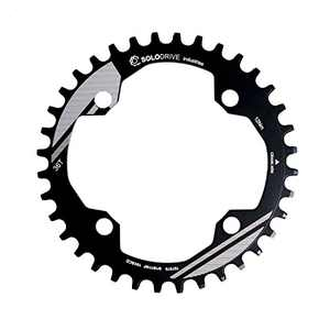 SOLODRIVE 104BCD Mountain Bike Narrow Wide Chainring, 104mm BCD Single Chainring for 9/10/11-Speed MTB, Trail, Fat Bike, Black, 36T