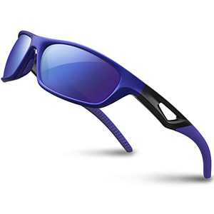 RIVBOS Sunglasses for Men Women Polarized UV Protection Sports Fishing Cycling Running RB831-Blue Mirror Lens